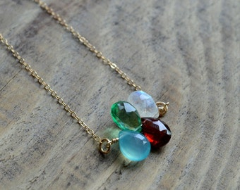 Custom Design Your Own Birthstone Necklace- 4 Stone Birthstone Necklace in Gold or Silver- Minimalist Necklace- Layering Necklace