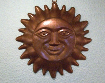 Metal Painted Copper Sun Smiling At You