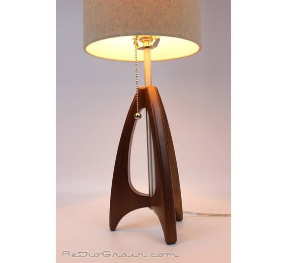 tripod table lamp mid century style walnut wood burlap. Black Bedroom Furniture Sets. Home Design Ideas