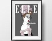Rita Ora Elle Magazine Cover Poster - Graphic Illustration A4 - Art Print