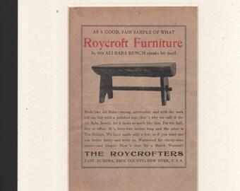 "1904 Roycroft Furniture Ad-Ali Baba Bench 5x7"" in 8x10"" Mat"