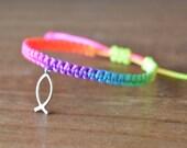 Rainbow bracelet with faith fish charm