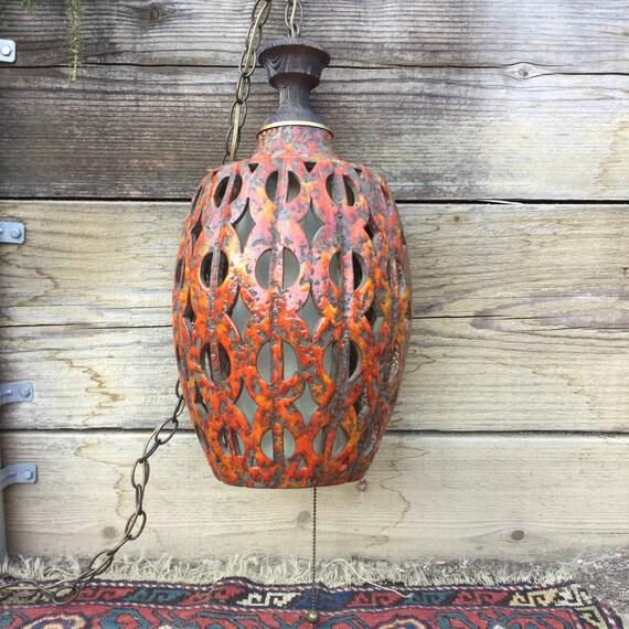 Mid Century Swag Lamp: Brutalist Swag Lamp. Vintage Mid Century Hanging Pendant Light