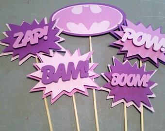 Batgirl Centerpiece,5 pc, Superhero party, Batgirl  Party, Batgirl  Birthday Party