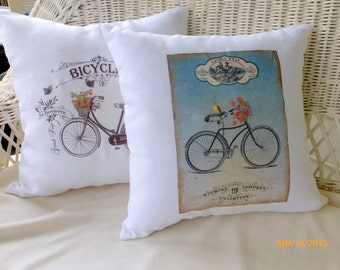 Bike Accent pillows - White Linen Pillow Covers  - Vintage Bicycle - French country decor - Bike Pillows - throw pillows - Pillow Covers