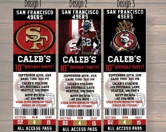 san francisco 49ers, Custom Party Ticket Invitations, Birthday Invitation, san francisco 49ers Birthday Ticket, digital file