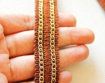 Brown Trim With Gold Chain Approx. 20mm wide - 030315L83