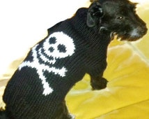 Large dog clothes, Halloween  skull and bones dog sweater. Hand knitted