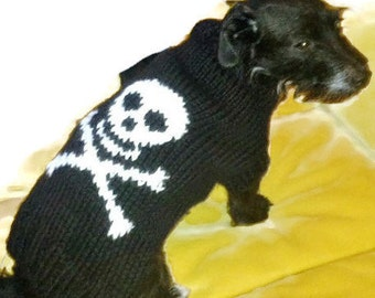 Large dog clothes, dog sweater. Halloween  skull and bones dog sweater. Hand knitted