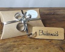 Bridesmaid keyring - Oak wood keyring - Wedding keyring - Wedding Gift - Bridesmaid gift - Hen party gift