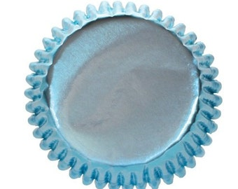 50 Light Blue Foil Cupcake Liners, Baking Cups, Greaseproof, Professional Grade