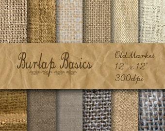 Burlap Digital Paper - Basic Burlap Textures - Burlap Backgrounds -  12 Designs - 12in x 12in - Commercial Use -  INSTANT DOWNLOAD