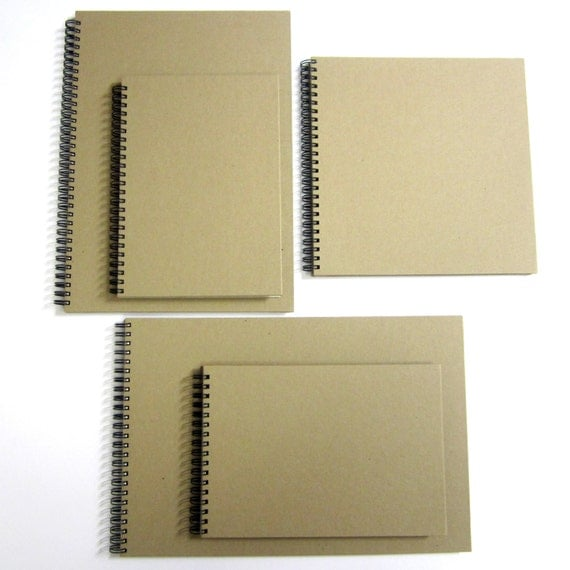 Blank A4/A5/Square Scrapbook, Portrait & Landscape, Kraft, Card Pages, Guestbook