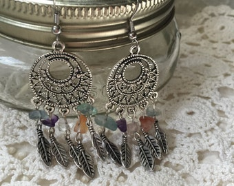 Dreamcatcher and Stone Hyperallergenic Earrings