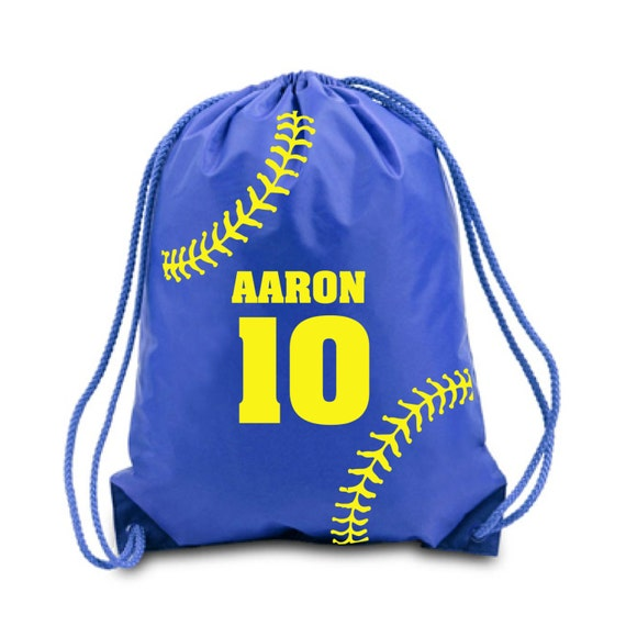 Swim Lesson Bag: Personalize Drawstring Bag Baseball Nylon Drawstring Backpack
