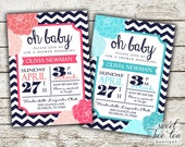Oh Baby Shower Invitation - Boy or Girl - Printable Invite - Chevron Flowers Floral - Navy Aqua Turquoise Coral - Digital File