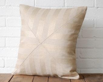 Gold Metallic Stripe Linen Pillow
