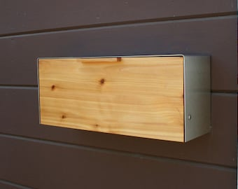 Modern Mailbox,  Knotty Cedar and Stainless Steel Mailbox