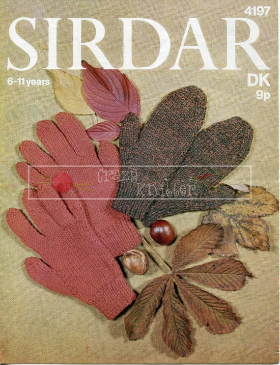 Children's Gloves and Mitts 6-11 years DK Sirdar 4197 Vintage Knitting Pattern PDF instant download