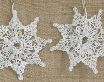 Lace Snowflake Christmas Tree Ornaments, Lace Ornament Set, Snowflake Decor, Country Christmas Decor, Rustic Snowflake Decor, Lace Christmas