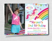 Rainbow Unicorn Photo Birthday Invitation - Magical Unicorn Themed Party - Digital Design or Printed Invitations - FREE SHIPPING