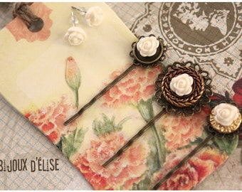 3 pcs Antique Bronze Hair Pins with Ivory Flower Cabochon And 1 pair of stud earrings - Bridesmaid Gift (HP5)