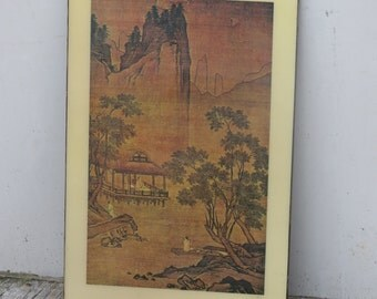 Vintage Asian Wall Decor Pavilion On Water by Chou Chen (1450 - 1535) Oriental Art
