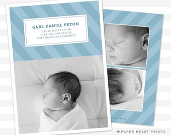 Modern Striped Baby Boy Birth Announcement - Unique Baby Announcement - Baby Boy Announcement, Custom Card - Photo Card - Gabe
