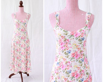 Vintage 1990s Dress / 90s Sundress / Roses / Crepe / French Style / Sweetheart