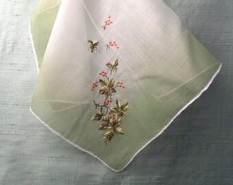 Ombre green embroidered Autumn leaf handkerchief / vintage hankie