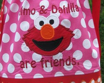 pink polka dot elmo pillowcase dress, elmo birthday, birthday dress,