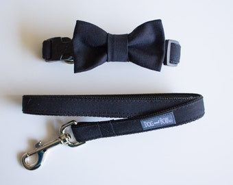 Black Dog Bow Tie - Optional Matching  Leash - Dog In Wedding - Ring Bearer