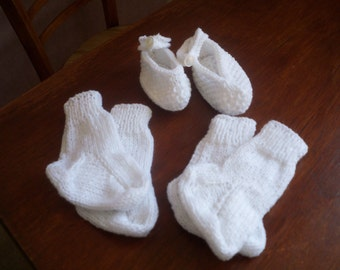 Hand knitted baby slippers and socks