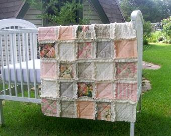 Crib Rag Quilt, Pink  Roses Baby Quilt Navy Peach Taupe Beige Cream Ivory Blankets Shabby Crib Bedding Nursery Bedding Crib Bedding
