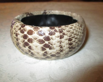 Vintage Snakeskin Bangle Bracelet