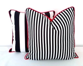 Black And White Striped Throw Pillow Cover 20 By