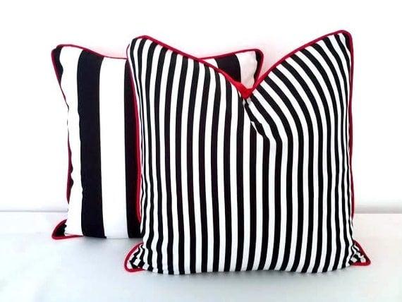 White Throw Pillows Etsy : Items similar to Black and White Striped Throw Pillow Cover 18