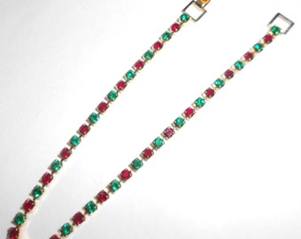 Rhinestone tennis bracelet, ruby and emerald dog tooth 1970s vintage jewelry