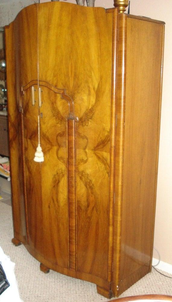 Art Deco French Burled Walnut Wardrobe Antique Regence -> Deco Armoire Métallique Vintage