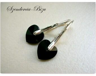 Silver earrings with Swarovski Elements Heart 10mm Jet
