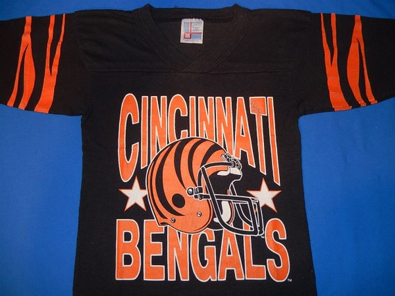 80s cincinnati bengals tiger stripe jersey by for Vintage bengals t shirts