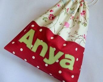 Personalised Drawstring Bag for Girls with Red Spots and Cream Floral Print, Custom Made Bag, PE Bag, Gym Bag, Personalised Bag UK