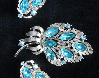 Lisner Sliver ad Azure Blue Earring and Brooch Set