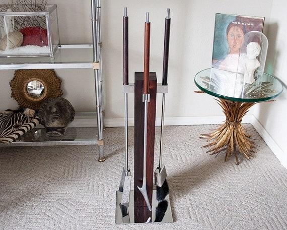 Vintage Mid Century Modern Fireplace Tool Set Wood By Sadrosetta
