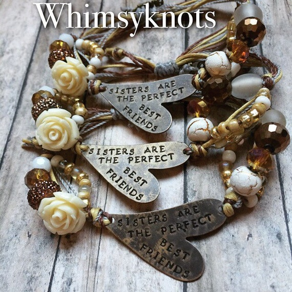 Set of Three Friend/Sister BRACELETS-- Gift for sisters/ gift for friends/ Perfect  Personalized Gift. Custom Jewelry, Hand-