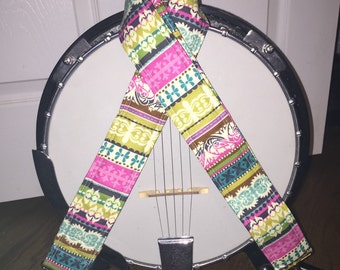 Banjo Strap - Handmade - Patterned Stripes