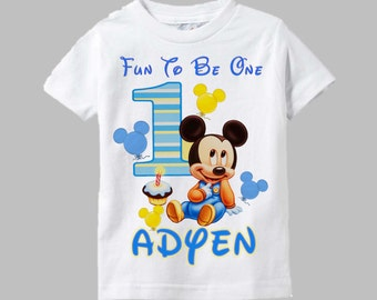 Mickey Mouse First Birthday Shirt - Mickey Mouse Birthday Shirt Baby