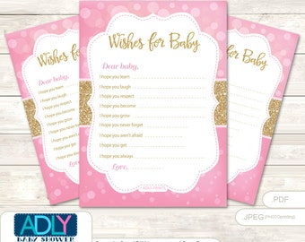 Girl Bokeh Wishes for a Baby Shower, Well Wishes Gold Pink Baby Bokeh Shower DIY Glitter-ao123bs6