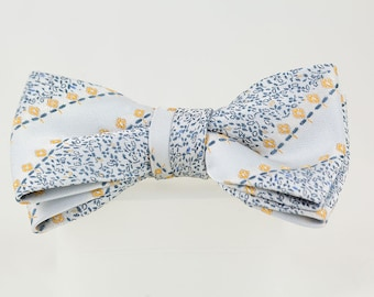 Clip on Bowtie Gray satin with blue and gold, Dressy bow tie 4 1/2 inches by 2 inches Elegant necktie Bow tie