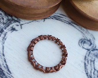 Filigreed ring 16 mm old copper tone x 1 pcs
